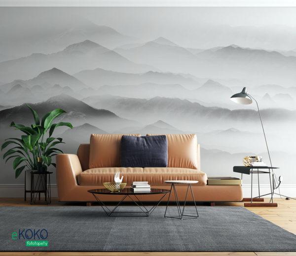 górskie szczyty pokryte mgłą - fototapeta