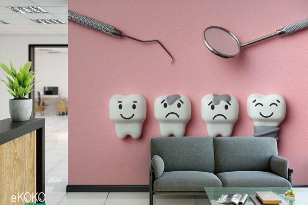 narzędzia dentystyczne i modele zębów w różnym stanie na różowym tle - fototapeta do gabinetu stomatologicznego