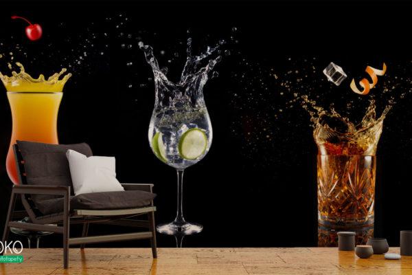 różnego rodzaju drinki ze owocami na czarnym tle - fototapeta do pubu, restauracji