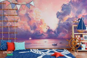 burzowy front nad oceanem w fioletowych odcieniach - fototapeta