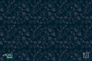 wzór delikatnych białych liści leszczyny na ciemnym tle - fototapeta