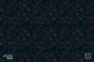 wzór delikatnych różowych liści leszczyny na ciemnym tle - fototapeta