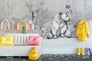 zwierzęta na polance w lesie - fototapeta dla dzieci