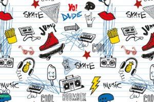 wzór rysunki gadżetów nastolatków - fototapeta dla młodzieży