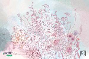 akwarela czerwone kwiaty na jasnym tle - fototapeta
