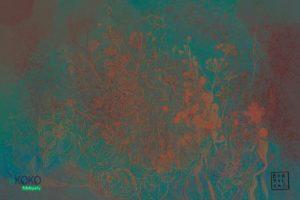 akwarela pomarańczowe kwiaty na zielonkawym tle - fototapeta
