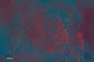 akwarela czerwone kwiaty na niebieskawym tle - fototapeta