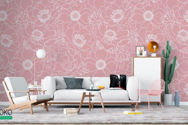 wzór rysowane białe kwiaty maku na różowym tle - fototapeta