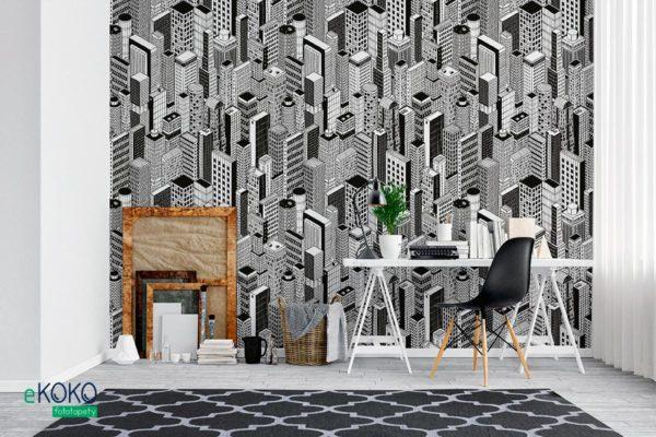 wzór czarno biały narysowane skupisko wieżowców - fototapeta dla młodzieży