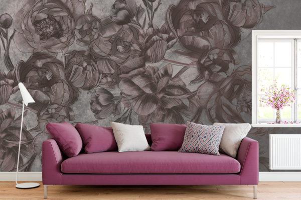 duże piękne różowo-szare piwonie na jasnym tle - fototapeta