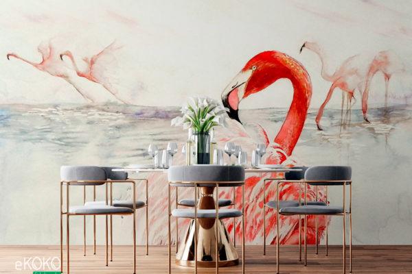 flamingi na jasnym tle - fototapeta