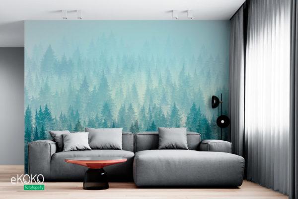 jodłowy las we mgle - fototapeta