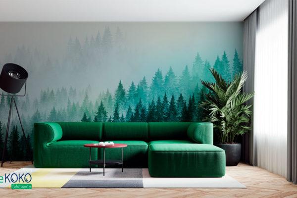jodłowy las na zboczu we mgle - fototapeta