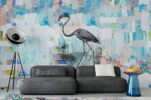 czarne flamingi na kolorowym abstrakcyjnym tle - fototapeta