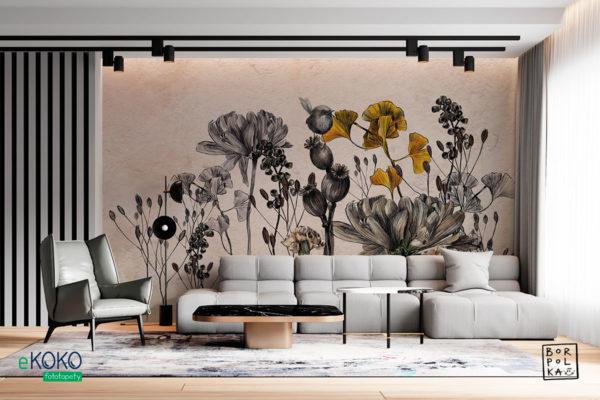 kwiaty i łodygi na betonowym tle - fototapeta
