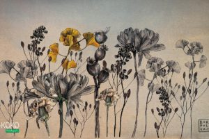 kwiaty i łodygi na ciemnym papierowym tle - fototapeta