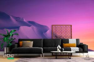 krajobraz śnieżna zaspa w górach w różowej poświacie - fototapeta