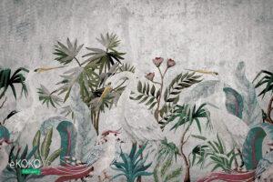 białe ptaki wśród zielonych krzewów na betonowym tle - fototapeta
