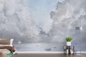 burzowy front nad oceanem w błękitnych odcieniach - fototapeta