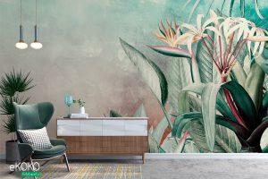 tropikalne liście na zielono szarym tle – fototapeta