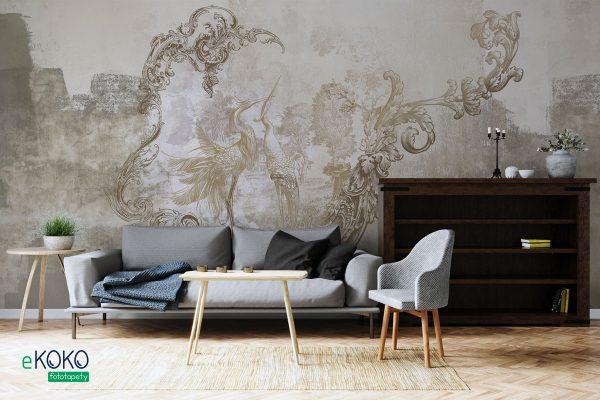 klasyczne barokowe wzory z ptakami na betonowym tle - fototapeta